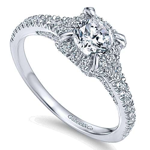 14k White Gold Round Halo Engagement Ring angle 3