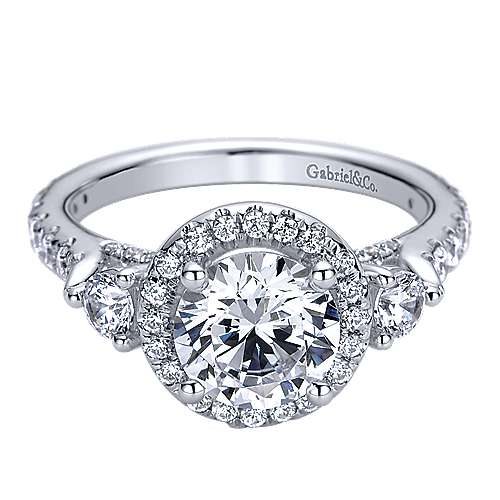 14k White Gold Round Halo