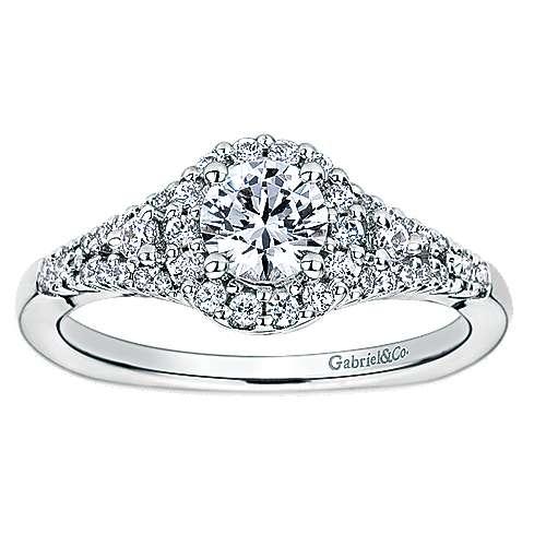 14k White Gold Round Halo Engagement Ring angle 5