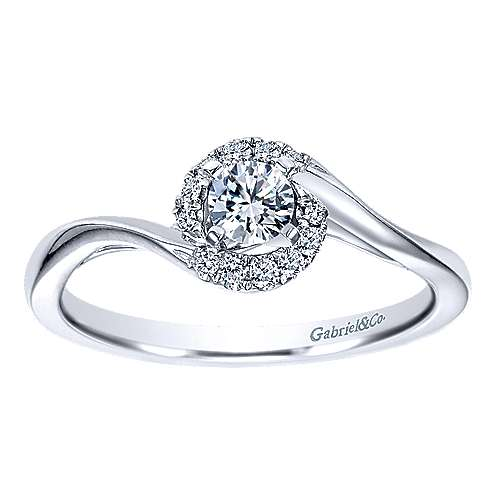 14k White Gold Round Halo Engagement Ring angle 5