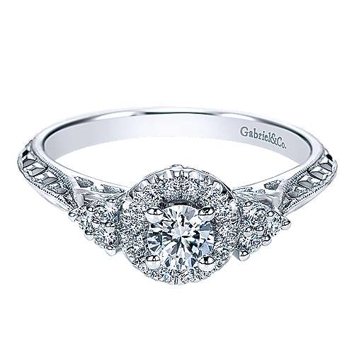 Gabriel - 14k White Gold Round Halo Engagement Ring