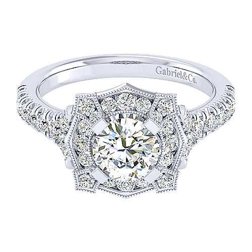 Gabriel - 14k White Gold Round Perfect Match Engagement Ring