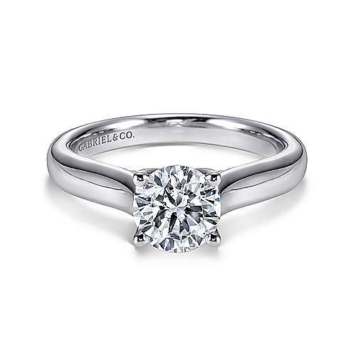 14k White Gold Round Solitaire  with Cathedral Setting