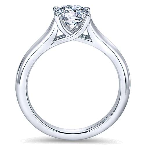 14k White Gold Round Solitaire Engagement Ring with Cathedral Setting angle 2