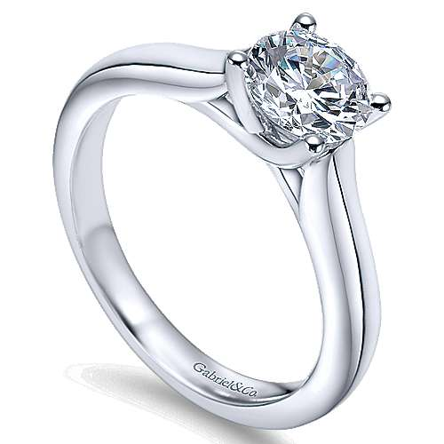 14k White Gold Round Solitaire Engagement Ring with Cathedral Setting angle 3