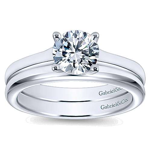 14k White Gold Round Solitaire Engagement Ring with Cathedral Setting angle 4