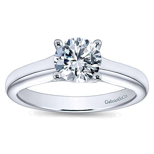 14k White Gold Round Solitaire Engagement Ring with Cathedral Setting angle 5