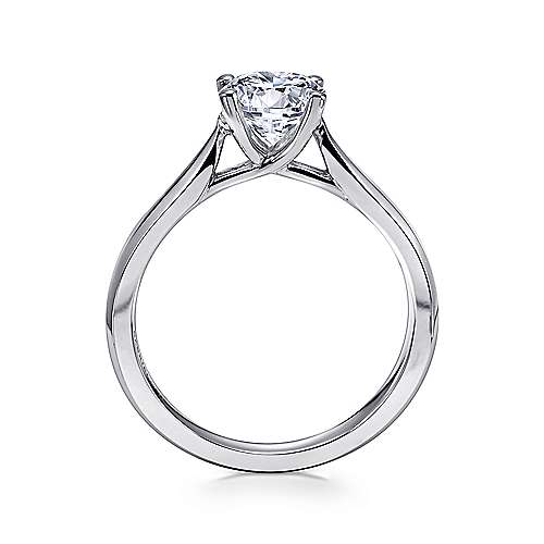 14k White Gold Round Solitaire Engagement Ring with Trellis Setting angle 2
