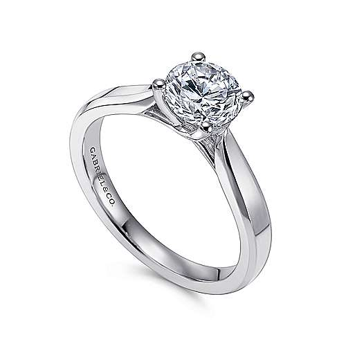 14k White Gold Round Solitaire Engagement Ring with Trellis Setting angle 3