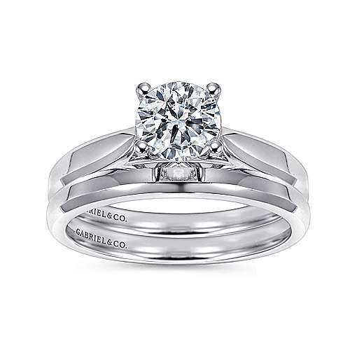 14k White Gold Round Solitaire Engagement Ring with Trellis Setting angle 4