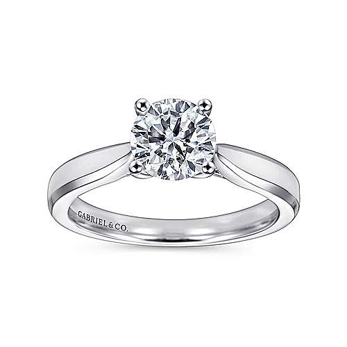 14k White Gold Round Solitaire Engagement Ring with Trellis Setting angle 5