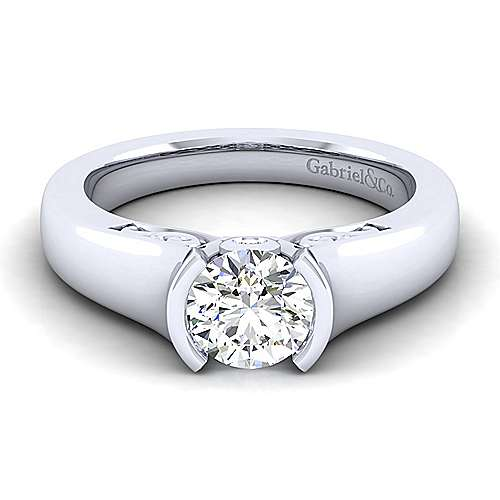 Gabriel - 14k White Gold Round Solitaire Engagement Ring