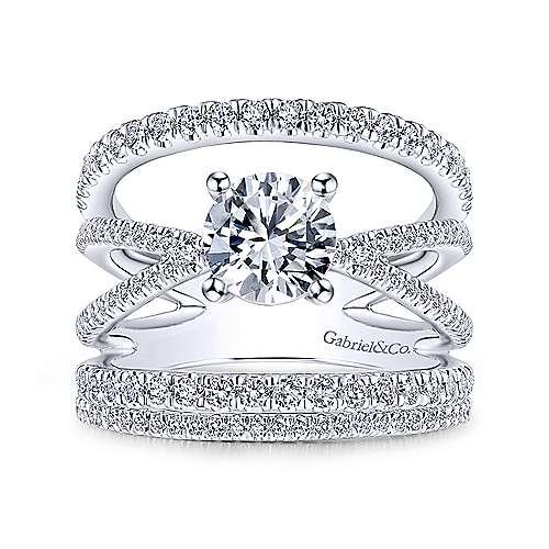 14k White Gold Round Split Shank Engagement Ring angle 4