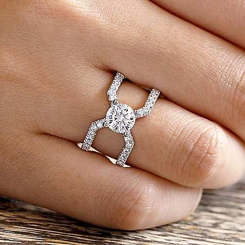 14k White Gold Round Split Shank Engagement Ring angle 6