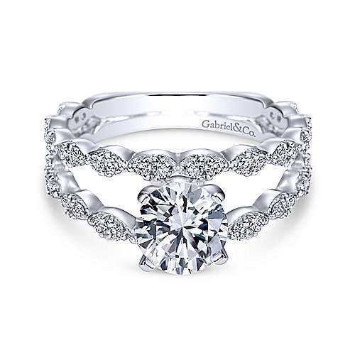 14k White Gold Round Split Shank