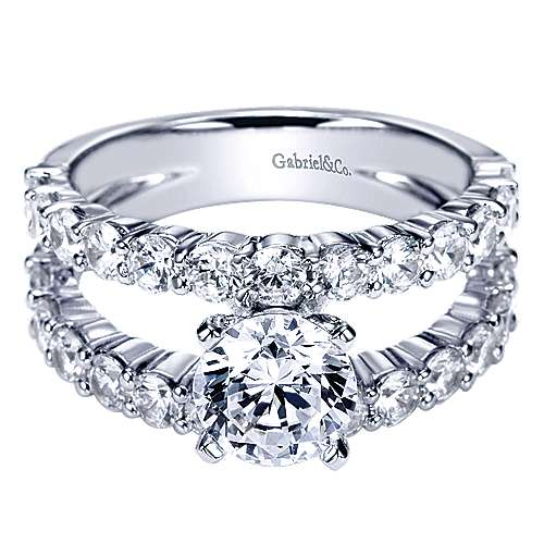Gabriel - 14k White Gold Round Split Shank Engagement Ring