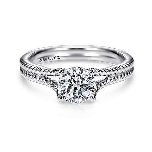 Gabriel - 14k White Gold Round Split Shank Engagement Ring
