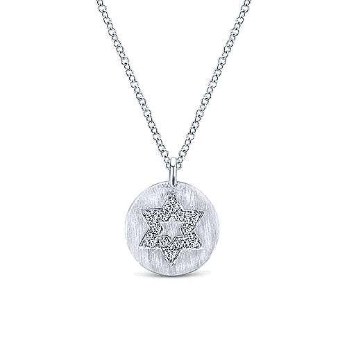 14k White Gold Round Star of David Diamond Necklace