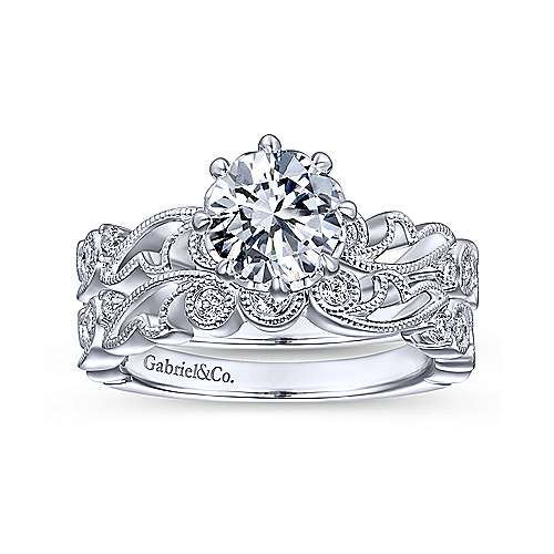 14k White Gold Round Straight Engagement Ring angle 4