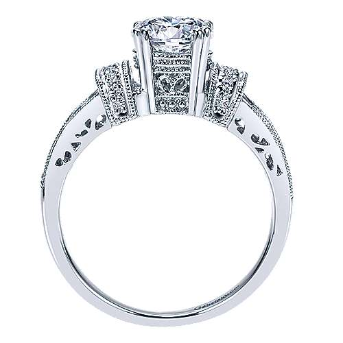 14k White Gold Round Straight Engagement Ring