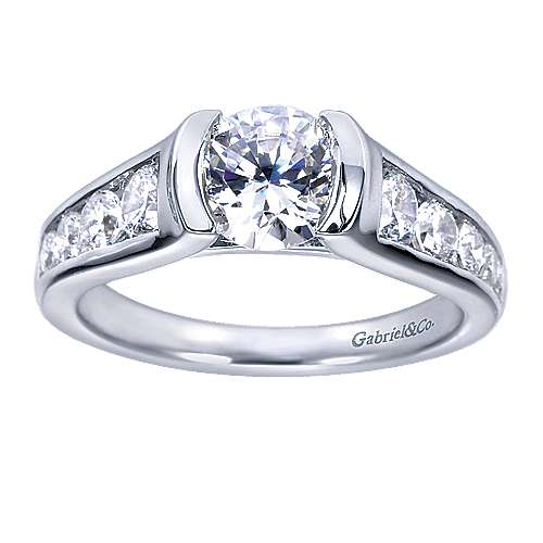 14k White Gold Round Straight Engagement Ring