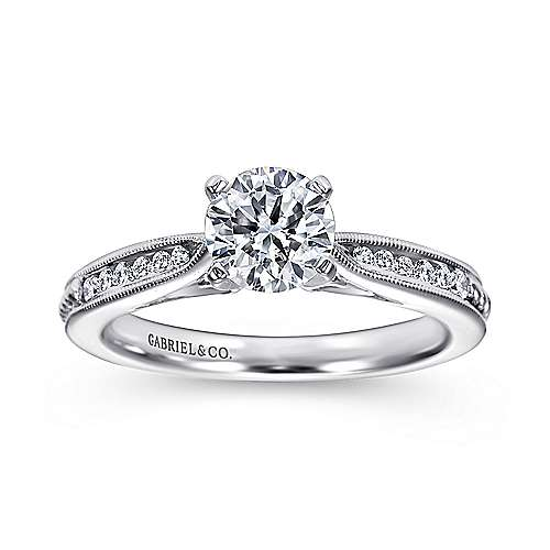 14k White Gold Round Straight Engagement Ring angle 5