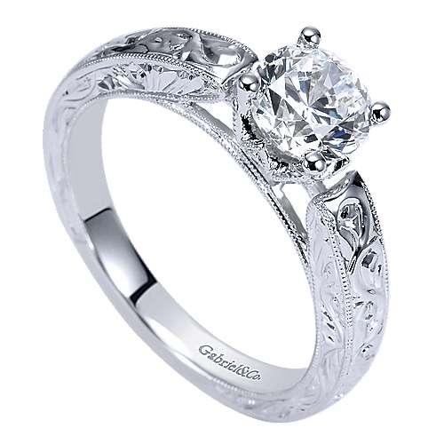 14k White Gold Round Straight Engagement Ring angle 3