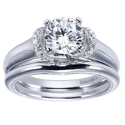 14k White Gold Round Straight Engagement Ring angle 4