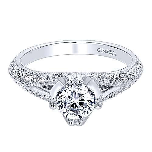 Gabriel - 14k White Gold Round Straight Engagement Ring
