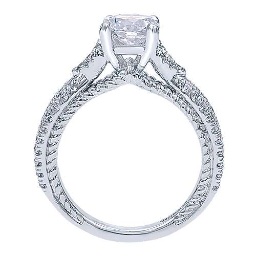 14k White Gold Round Twisted Engagement Ring angle 2