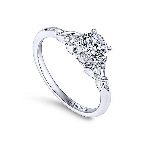 14k White Gold Round Twisted Engagement Ring angle 3
