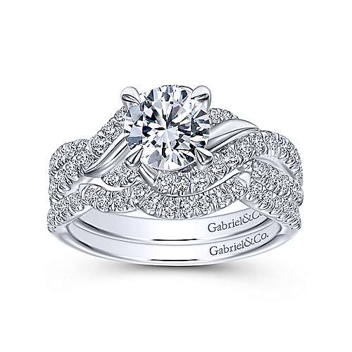 14k White Gold Round Twisted Engagement Ring angle 4
