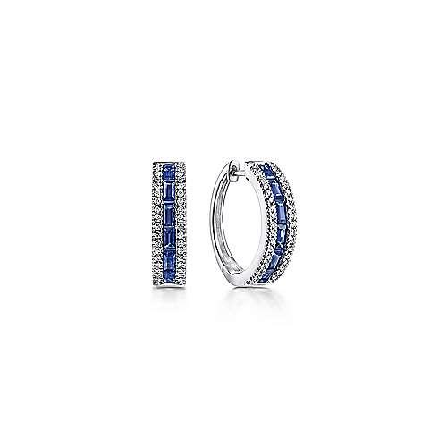 14k White Gold Sapphire Pave Diamond Huggie Hoop Earrings