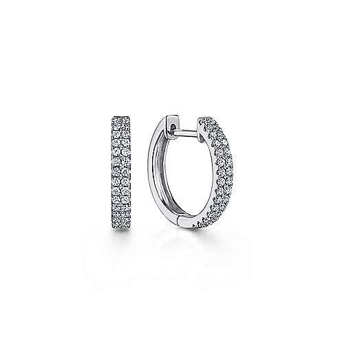 14k White Gold Scalloped Dual Column Diamond Huggie Earrings angle 1