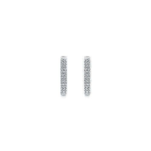 14k White Gold Scalloped Dual Column Diamond Huggie Earrings angle 3