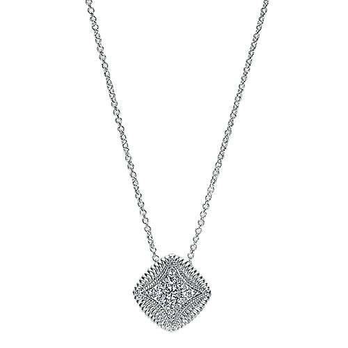 Gabriel - 14k White Gold Scalloped Fashion Necklace