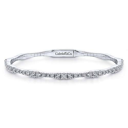 Gabriel - 14k White Gold Scalloped Pave Diamond Bangle Bracelet