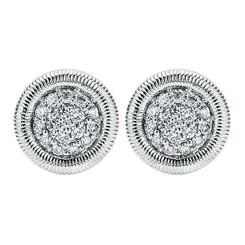 Gabriel - 14k White Gold Scalloped Stud Earrings