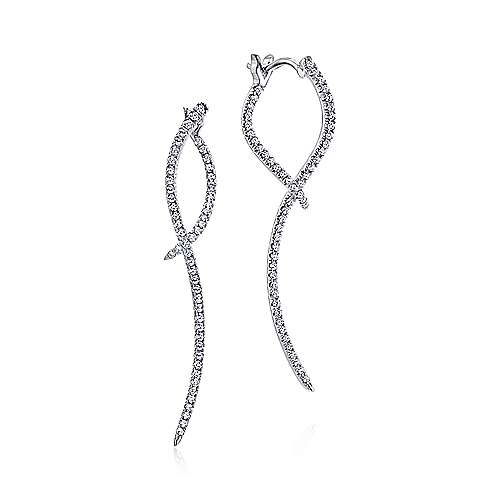 14k White Gold Sculptural Diamond Drop Earrings