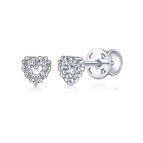 14k White Gold Secret Garden Stud Earrings angle 1