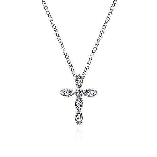 Gabriel - 14k White Gold Segmented Diamond Cross Necklace