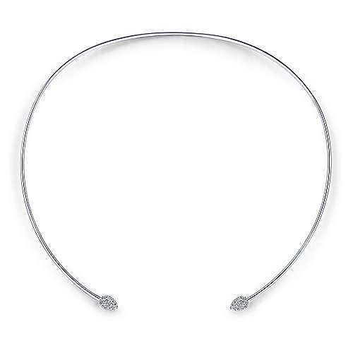 14k White Gold Silk Choker Necklace angle 2