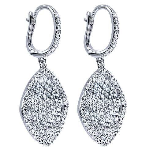 14k White Gold Silk Drop Earrings angle 2