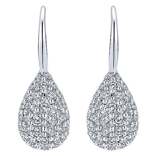 14k White Gold Silk Drop Earrings angle 1