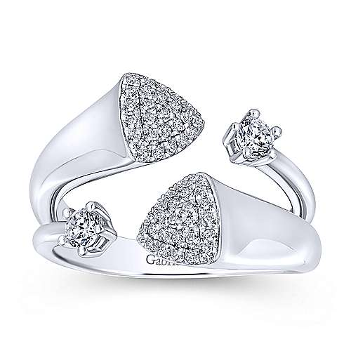 14k White Gold Silk Fashion Ladies' Ring angle 4
