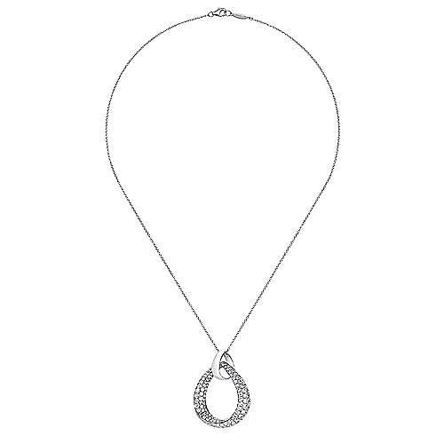 14k White Gold Silk Fashion Necklace angle 2