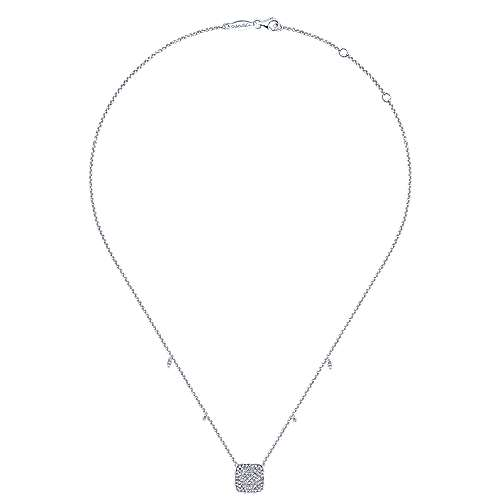 14k White Gold Silk Fashion Necklace angle 2