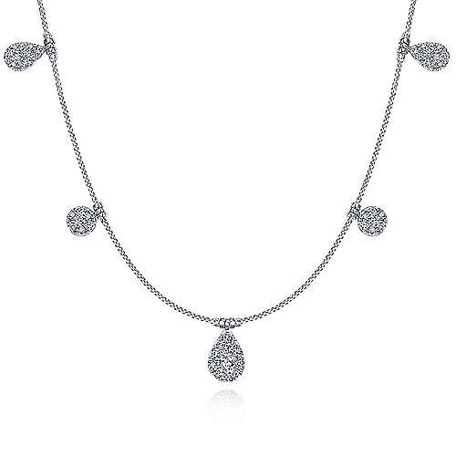 14k White Gold Silk Fashion Necklace