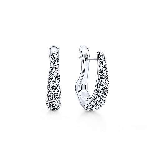 14k White Gold Silk Hoop Earrings angle 1