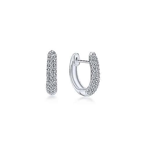14k White Gold Silk Huggie Earrings
